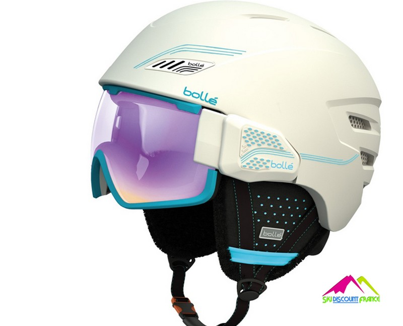 Casque de ski à visière bolle osmoz soft white and blue