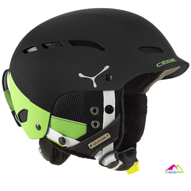 casque de ski noir mat cebe dusk black and green block