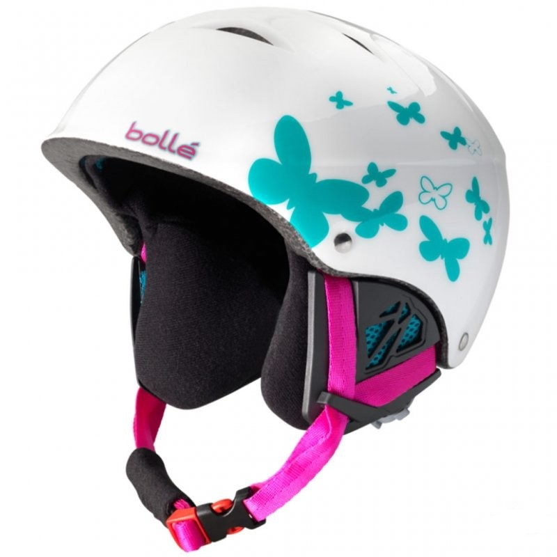 casque de ski enfant bolle b kid shiny white butterfly