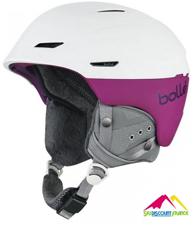 Casque de ski femme fourré Neuf Millenium Soft White and Plum