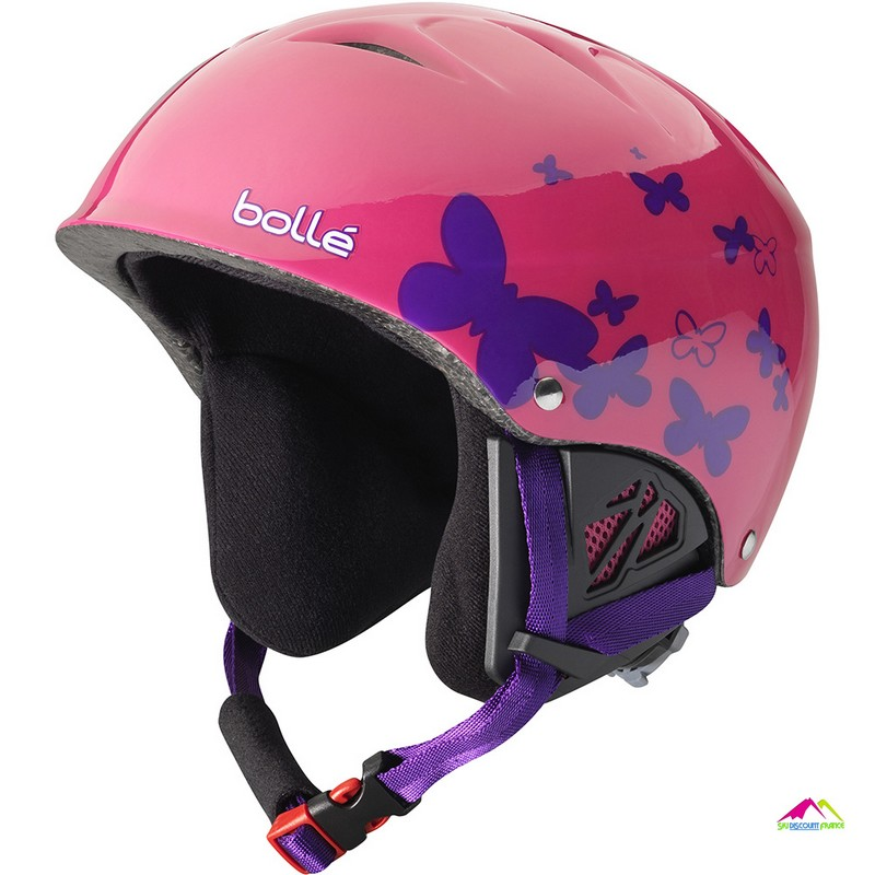 casque de ski bolle b kid shiny pink butterfly
