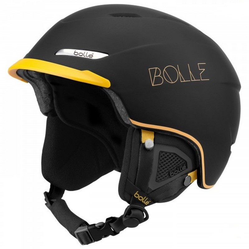 casque de ski noir mat pas cher bolle beat soft black and mustard