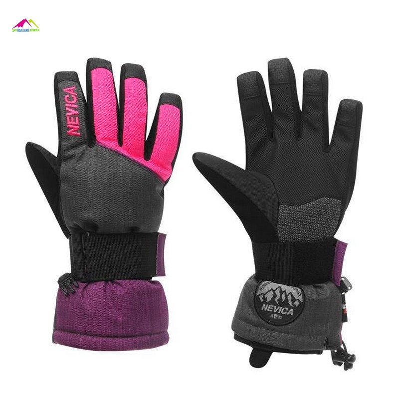 gants de ski enfant nevica boost glove black pink