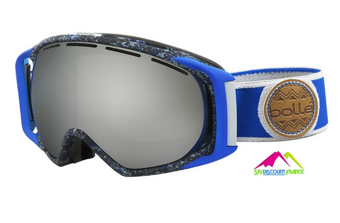 masque de ski incurvé homme bollé gravity blue and grey splatter black chrome s3