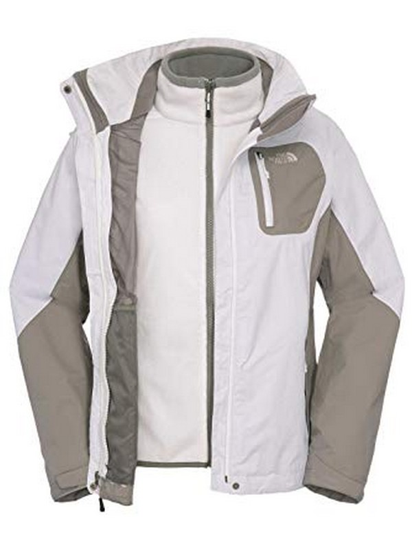 veste femme the north face zenith triclimate white grey